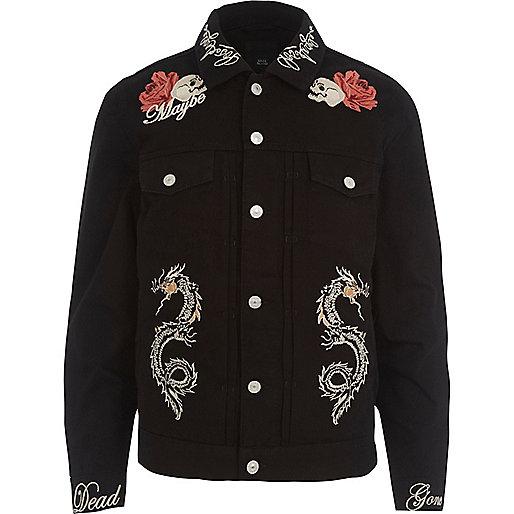 Black skull embroidered denim jacket
