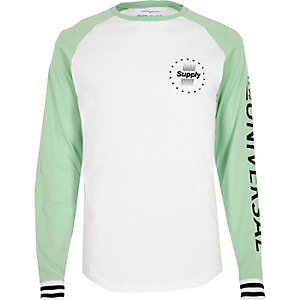 White and mint printed raglan sleeve T-shirt