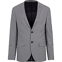 Black gingham skinny fit suit jacket