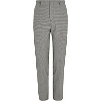Black gingham skinny fit suit pants