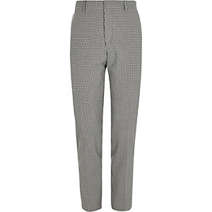 Black gingham skinny fit suit trousers