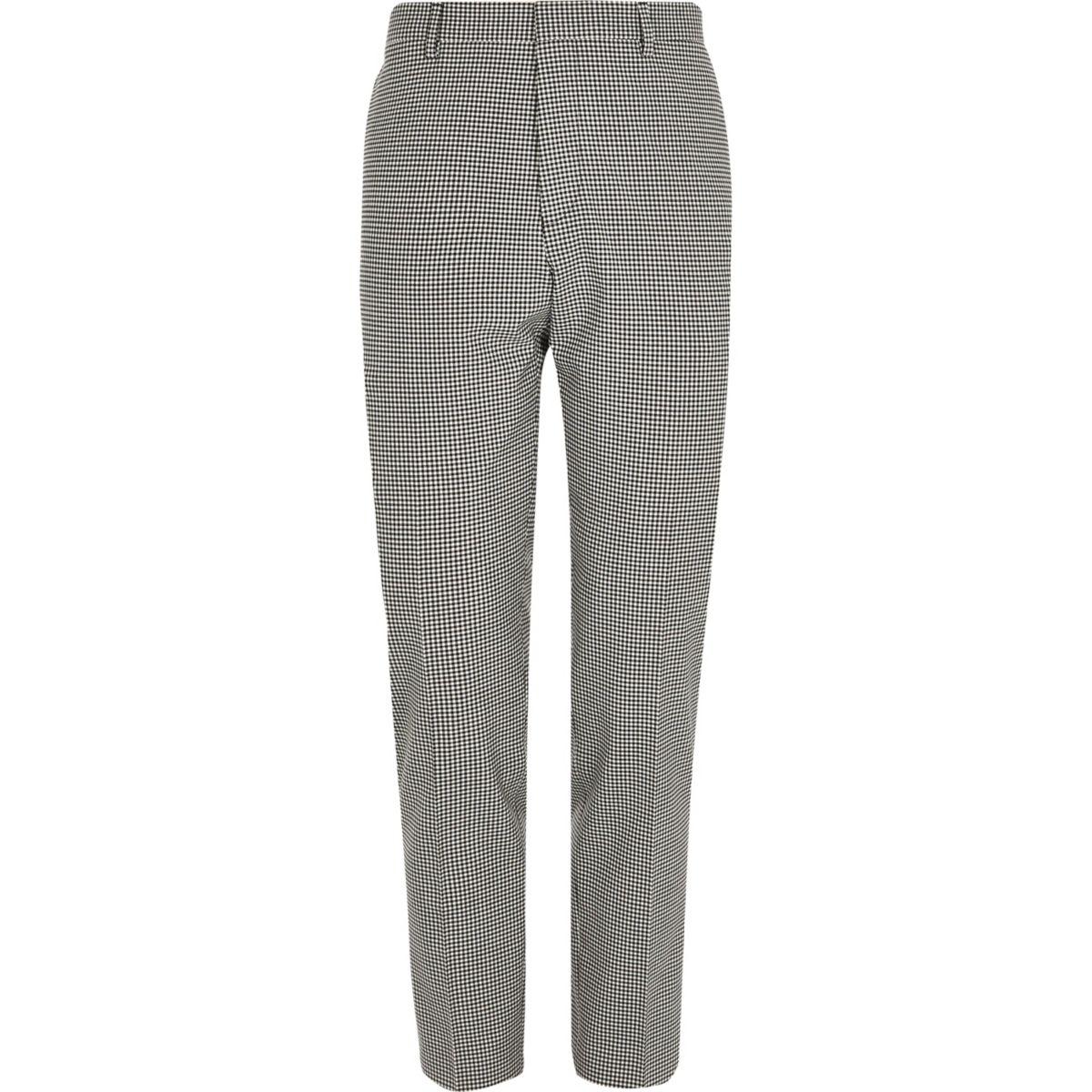 Zwarte skinny-fit pantalon met gingham-ruit