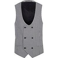Black gingham suit vest