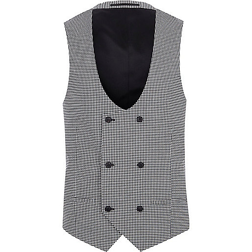 Black gingham suit vest