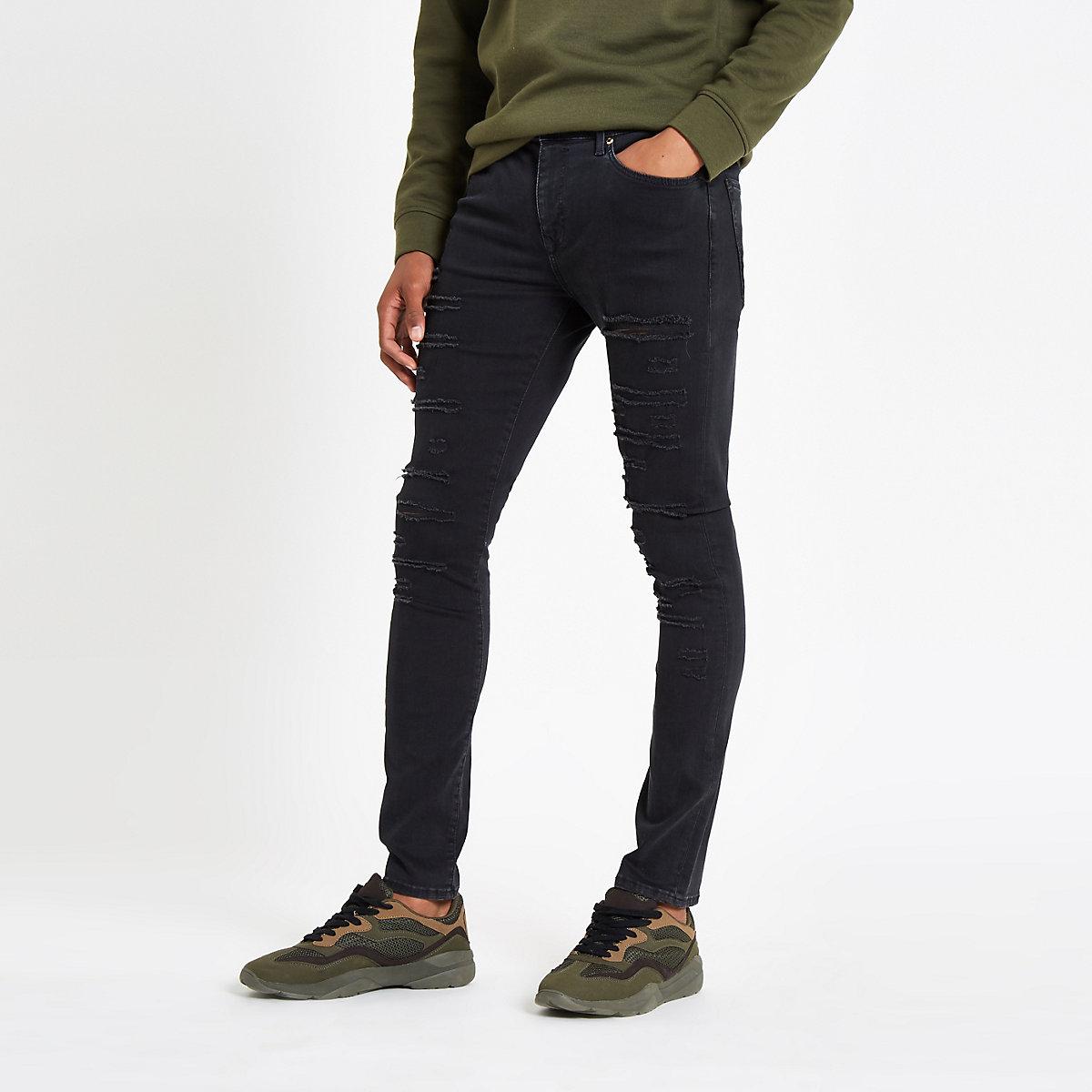 Danny – Gerippte, schwarze Superskinny Jeans