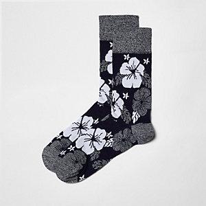 Navy hibiscus floral socks