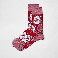 Pink hibiscus floral socks