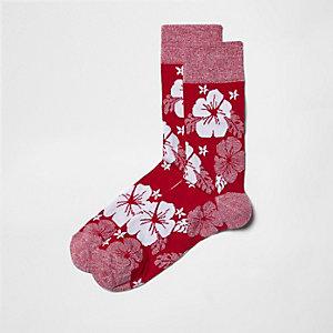 Pinke Socken mit Hibiskusmotiv