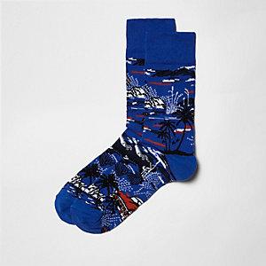 Chaussettes bleues motif palmier