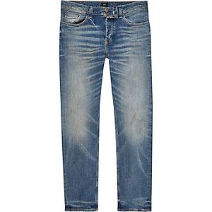 Dylan - Middenblauwe wash slim-fit jeans met kleurverloop