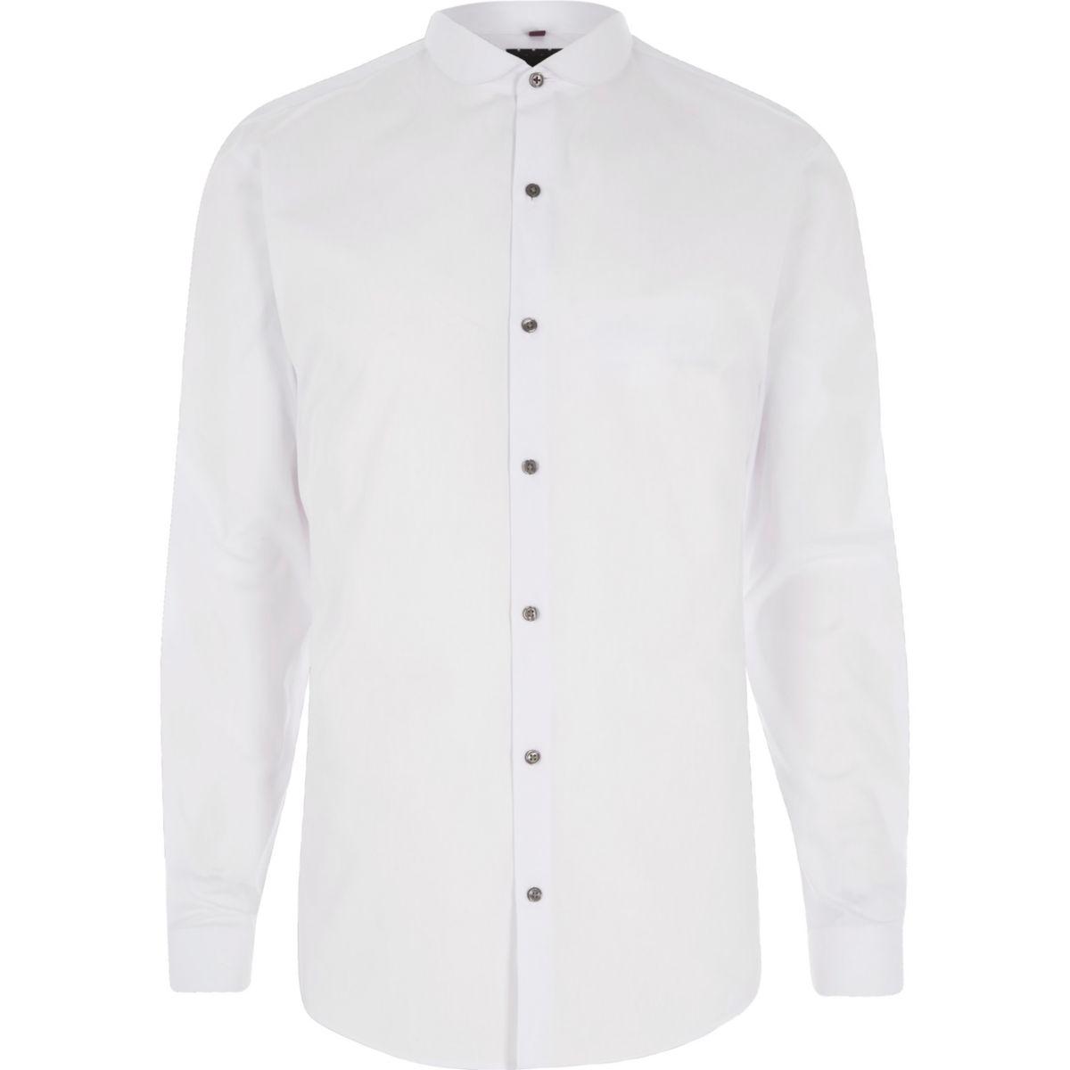 White penny collar long sleeve slim fit shirt