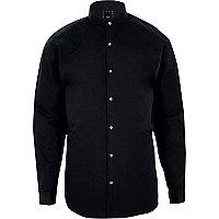 Chemise slim bleu marine à col arrondi et manches longues