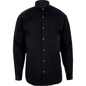 Navy penny collar long sleeve slim fit shirt