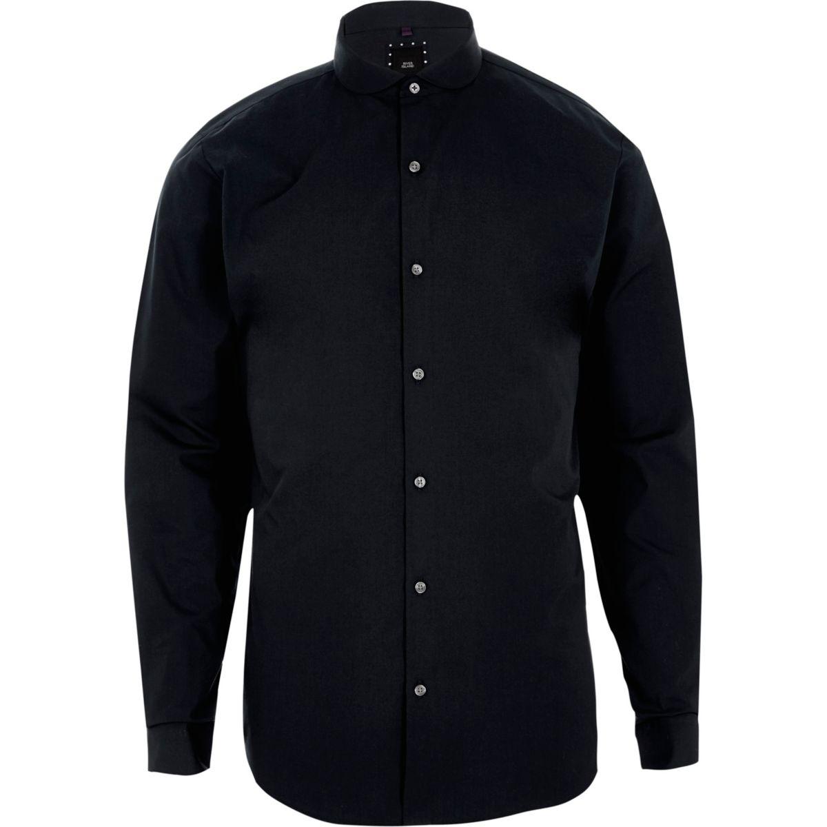 Navy penny collar long sleeve slim fit shirt