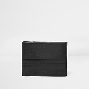 Black leather stripe panel wallet