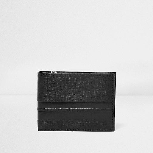 Black leather stripe panel wallet