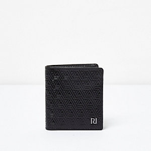Black embossed leather wallet