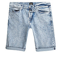 Light blue acid wash skinny fit denim short