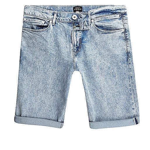 Light blue acid wash skinny fit denim short