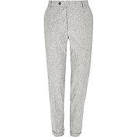 Grey crosshatch skinny fit pants
