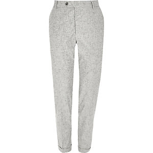 Grey crosshatch skinny fit pants