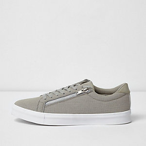 Light grey perforated zip lace-up sneakers