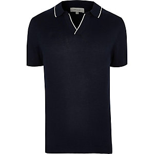 Navy tipped revere collar slim fit polo shirt