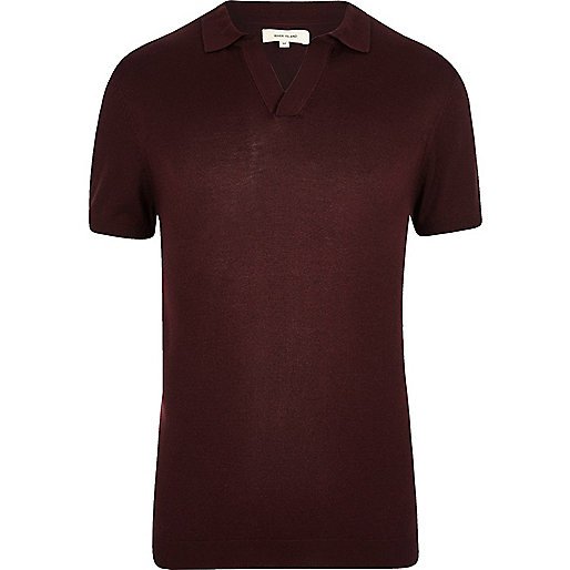 Burgundy revere collar slim fit polo shirt