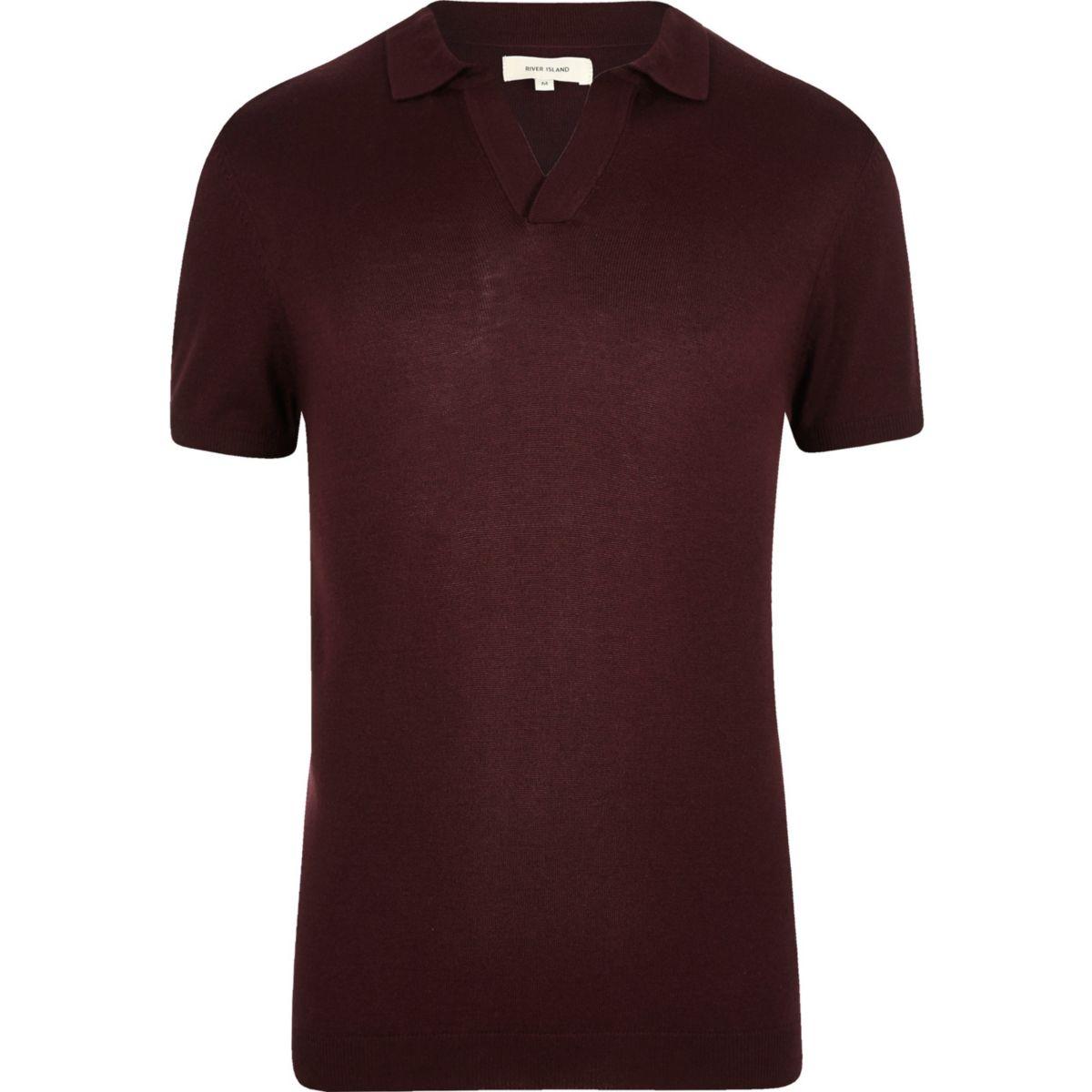 Burgundy revere collar slim fit polo shirt