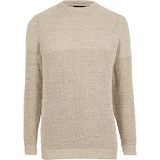 Cream textured knit slim fit sweater