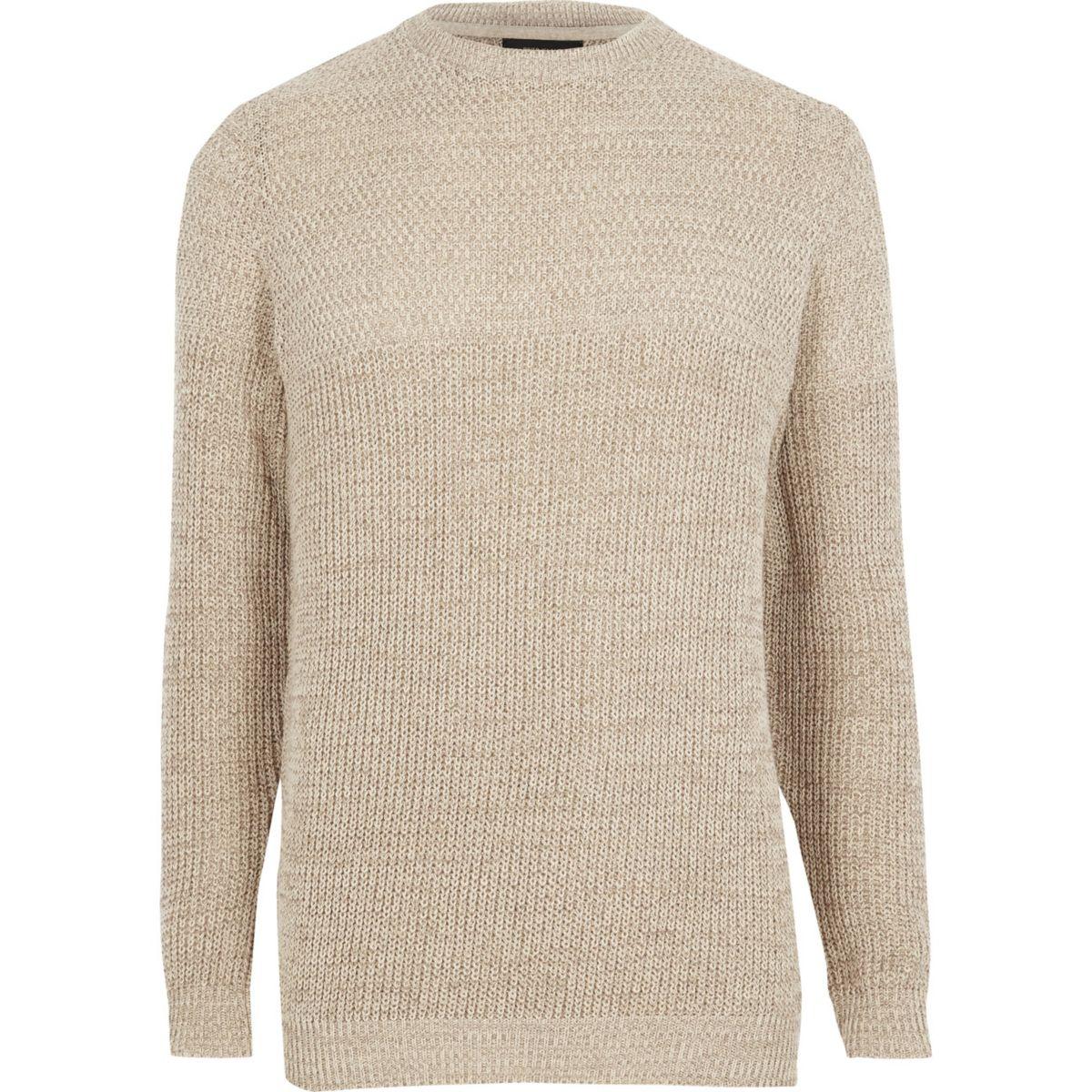 Cream textured knit slim fit sweater