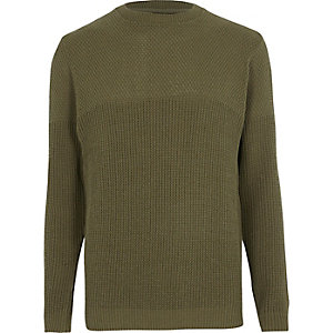 Dark green textured knit slim fit sweater