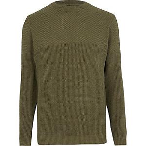 Donkergroene slim-fit pullover met textuur