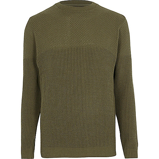 Dark green textured knit slim fit jumper
