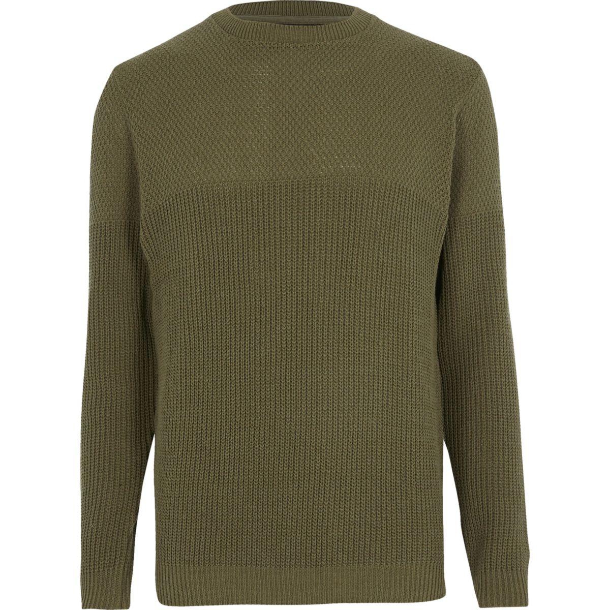 Dark green textured knit slim fit sweater