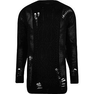 Schwarzer Oversized-Pullover mit Zopfmuster