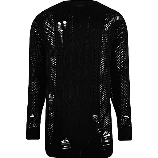 Black mesh cable knit oversized sweater
