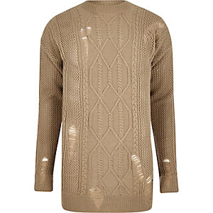 Hellbrauner Oversized-Pullover mit Zopfmuster