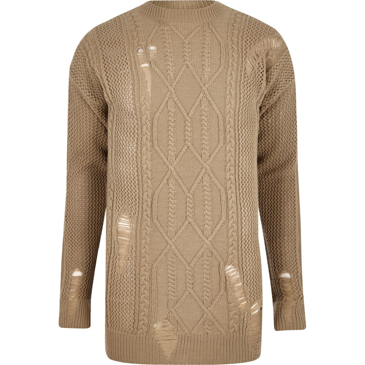 Light brown mesh cable knit oversized sweater - Sweaters ...