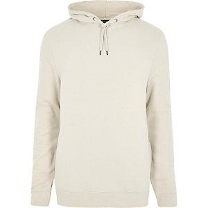 Kiezelkleurige jersey hoodie