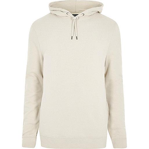 Stone white jersey hoodie