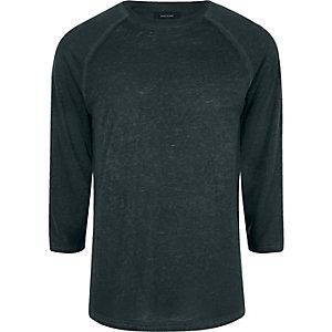 Dunkelgrünes Slim Fit T-Shirt mit Raglanärmeln