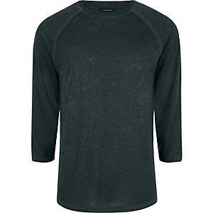 Dark green raglan sleeve slim fit T-shirt