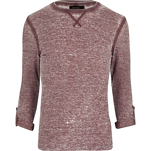 Dark red burnout waffle long sleeve top