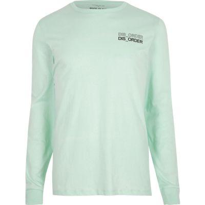 Groen T-shirt met lange mouwen en disorder'-print
