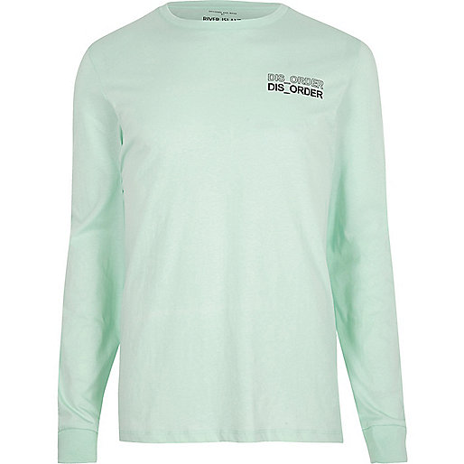 Green 'disorder' print long sleeve T-shirt