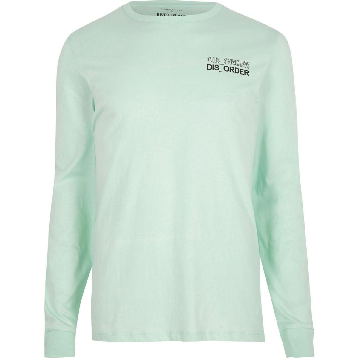 Green 'disorder' print long sleeve T-shirt