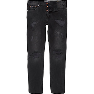 Black wash ripped fade Sid skinny jeans