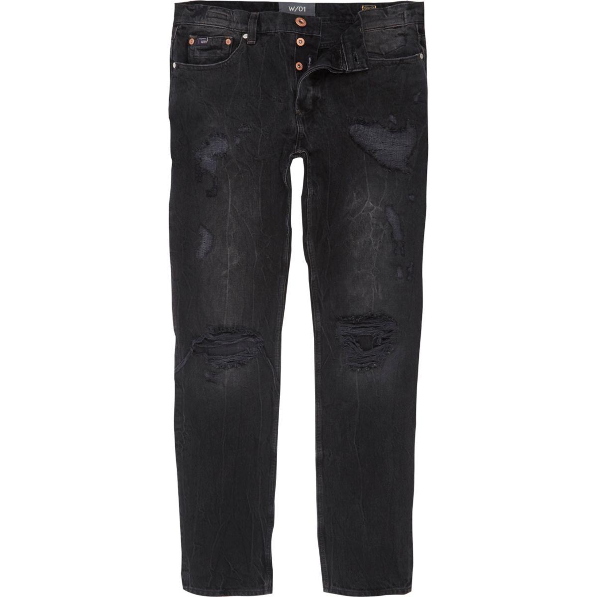 Sid - Zwarte wash ripped skinny warp jeans met kleurvervaging
