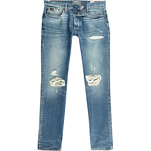 Sid – Blaue Stretch-Jeans im Used-Look